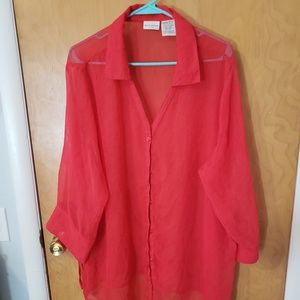 Sheet red button down blouse